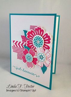 Stampin' Up! stamp set Flower Shop & matching pansy punch, stamp set Mixed Bunch & Tape It; by Linda Foster