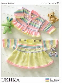 Baby Dk Double Knitting Pattern Childrens Girls Jumper Dress Cardigan Ukhka 73