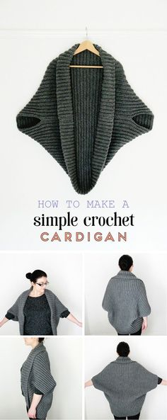 HOW TO MAKE A SIMPLE CROCHET CARDIGAN looks so easy and cozy! #CrochetIdeas