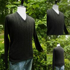 Vintage Charcoal Grey Cashmere Mens V Neck Sweater Size M, Made in the Australia, About 1990s by HiddenTreasureHunter on Etsy