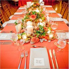 Love these colors and table set.
