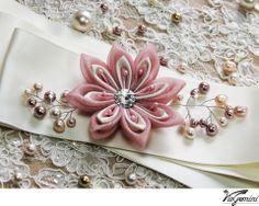 wedding sash bridal belt kanzashi flower dusty pink viogemini2