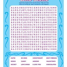 Trendy bridal shower activities for kids valentines day Ideas Valentines Word Search, Valentine Bingo, Valentines Day Words, Valentines Day Party, Valentines For Kids, Secret Valentine, Printable Valentine, Valentine Treats, Funny Valentine