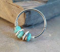 18 or 20 Gauge Turquoise Gold Nose Hoop Ring or Cartilage Hoop Earring