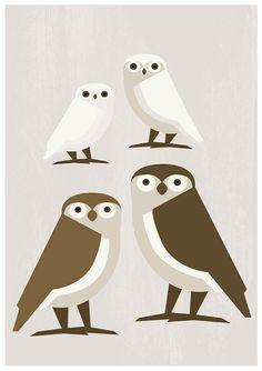 INSTANT DOWNLOAD - Owl family of four - Printable