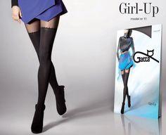 GIRL UP 11 Farba čierna Silonky so vzorom podväzkov Dostupné v 1 farbe Knee Boots, Stockings, Up, Shoes, Fashion, Colors, Socks, Zapatos, Moda