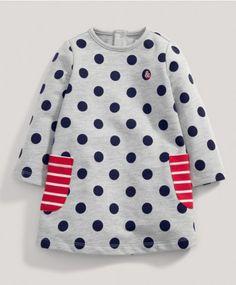 Girls Navy Spot Sweater Dress