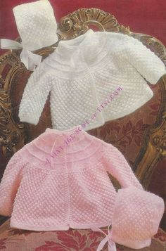 Baby 3ply and 4ply instructions for Matinee jacket & Bonnet  18 - 19 ins - PDF of Vintage of  Baby  Knitting Patterns - Instant Download