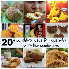 Lunchbox Ideas for kids who don't like Sandwiches! -- what about kids who only like ONE kind of sandwich? Lunch Box Bento, Non Sandwich Lunches, Lunch Snacks, Sandwich Ideas, Lunch Foods, Kid Snacks, Sandwiches, Toddler Meals, Kids Meals