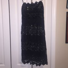 Black Short Dress - Masquerade Design Size 5/6 short layered sequin dress - can be strapless or there are straps. Worn once - very adorable dress :) Masquerade Dresses Midi