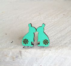 Summer Love Bunny Wooden Studs in Mint Green  Laser by EachToOwn, $19.00