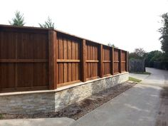 Stone Retaining Wall Amp Backfill And Cedar Fence Board On
