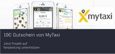 10€ mytaxi Gutscheine für Deine Unterstützung auf fairplaid.org http://goo.gl/T1Be0P