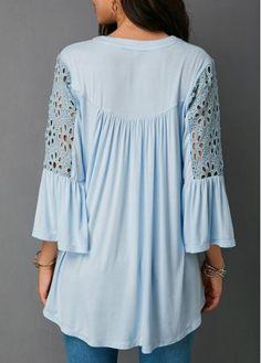 Lace Panel Baby Blue Split Neck Blouse | modlily.com - USD $30.15