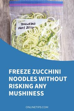 Freeze zucchini noodles Zoodles are a great alternative to pasta. They have much fewer calories and carbs, and your body will welcome with open arms all their nutrients. Unfortunately, fresh zucchini might not always be available or maybe time Zucchini Noodle Recipes, Zoodle Recipes, Spiralizer Recipes, Veggie Recipes, Healthy Recipes, Keto Recipes, Shredded Zucchini Recipes, Veggetti Recipes, Zuchinni Recipes