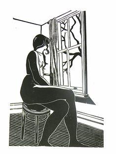 Nude @ the window, nude, woman, window, stool, linocut, print, hand-pulled, black & white, Ellen Von Wiegand #interiordeco #interiordesign #art #artforsale #wallart