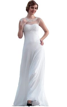 0d109269f51d00 Beauty-Emily Round Neck Pleated Wedding Evening Dress Long Formal Prom Ball  Wear     Check out the image by visiting the link. (This is an affiliate  link)