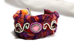 Bohemian  Beaded Batik Fabric Cuff Bracelet  | Wyverndesigns - Jewelry on ArtFire