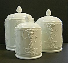Indiana 'Harvest Grape' milk glass canister set my mother had when I was in high school