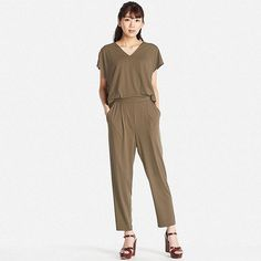 WOMEN JERSEY SHORT-SLEEVE JUMPSUIT, OLIVE, large