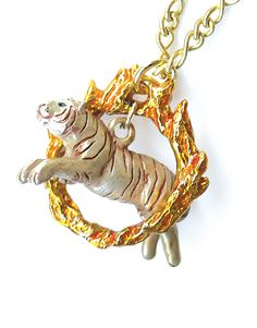 The Courageous Tiger and the Ring of Fire Necklace - Handmade by Palnart Poc - SUDDENLY CAT