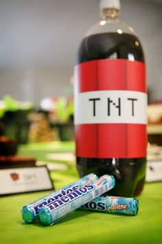 Minecraft Birthday Party Game Ideas with Soda and Mentos!