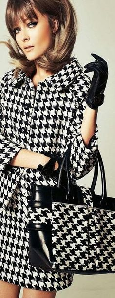 Vintage Inspired Black & White Hounds Tooth ~ Very 1960's