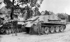 A abandoned Jagdpanzer 4 L70 Lang alongside a  Jagdpanther makes a great backdrop for a posing British soldier.
