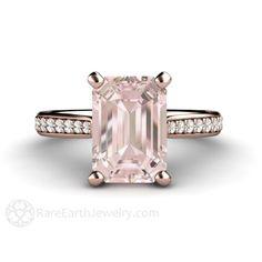 Morganite Ring Morganite Engagement Ring Emerald Accented Solitaire Conflict Free Diamonds 14K 18K Rose Gold Platinum or Palladium
