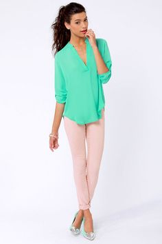 Cute Mint Green Top - Pastel Top - V Neck Top - $36.00