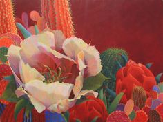 Contemporary Cacti  Oil Painting Cactus Painting   Bold Colors  Sharon Weiser, Artist