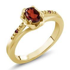 0.52 Ct Oval Red Garnet Red Rhodolite Garnet 18K Yellow Gold Plated Silver Ring, Women's, Size: 6