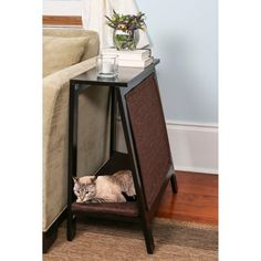 Is this a stylish end table or a cat bed/scratcher? The A-Frame Cat Furniture is a end table, a cat scratcher and a cat bed, all-in-one. Wood Cat, Cat Scratcher, Cat Room, Pet Furniture, Modern Cat Furniture, Furniture Dolly, Furniture Online, Fine Furniture, Cheap Furniture