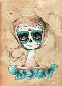 daphne  Dia de los Muertos aceo print by stellalatwinski on Etsy, $5.00