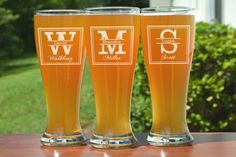 Groomsmen Gift 3 Personalized Beer Glasses by UrbanFarmhouseTampa