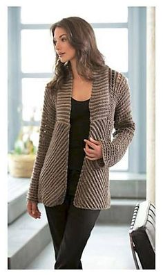 This is adorable, front and back. Ladies Stylish Fashion Jacket, Knitting Pattern #knitting #ad #knit #hygge #sweater #cardigan #fashion