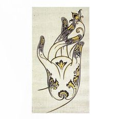Small Handmade Hemp Wall Hanging Batik /Tapestry, Buddha Lotus Mudra Hand gesture, Acrylic silkscreen, Symbol of Buddha-Nature,Enlightenment