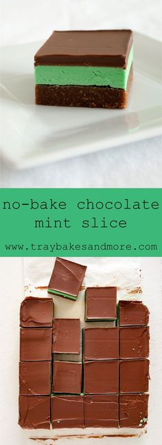 No-Bake Chocolate Mint Slice. A simple and delicious traybake. With a soft biscuit base, cool minty buttercream and smooth chocolate topping. Tray Bake Recipes, Baking Recipes, Cookie Recipes, Dessert Recipes, Shortbread Recipes, Protein Recipes, Cupcake Recipes, Chocolate Slice, Mint Chocolate
