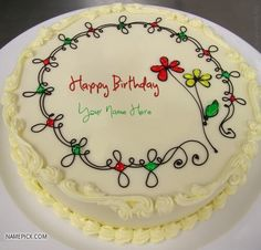 Best #1 Website for name birthday cakes. Write your name on Write Name on Birthday Cakes picture in seconds. Make your birthday awesome with new happy birthday greetings cakes. Get unique happy birthday cake with name.