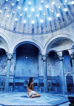 The marble interior of the Cağaloğlu Hamami is miraculously intact.