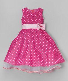 Look at this #zulilyfind! Fuchsia & White Polka Dot A-Line Dress - Infant, Toddler & Girls #zulilyfinds