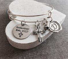 Godmother est 2017, GodMother Gift, Godmother Bracelet, God Mother, Gift from Godchild, Charm Bracelet by SAjolie, $26.95 USD