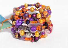 ECU Purple & Gold...  Beaded Bracelet wire wrap by artistvisions, $30.33