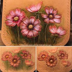 Cosmos Flower #cosmos #trioleatherart #dinnidworkshop #handmade #leatherwork #leathercraft #leathertooling #leatherworkshop #皮雕 #皮雕工藝 #皮革 #皮 #仨革藝