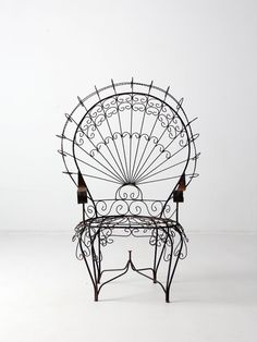 vintage wrought iron peacock chair by 86home on Etsy