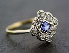 Antique Art Deco Sapphire Ring - 18ct Gold  Platinum Art Deco Sapphire and Diamond Cluster Engagement Ring
