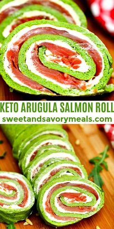 Keto Arugula Salmon Roll is a low-carb dish that is fresh and filling. #keto #ketorecipes #sweetandsavorymeals Fish Recipes, Seafood Recipes, Keto Recipes, Meatless Recipes, Lunch Recipes, Yummy Recipes, Recipies, Dinner Recipes, Baked Ziti With Chicken