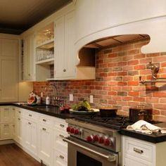 Exposed Brick kitchen backsplash