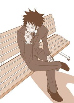 Trafalgar D. Water Law in suit on bench One piece