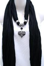 Womens Necklace Style Fashion Jewelry Scarf w/ Zebra Rhinestone Heart - Black  $23.99 + Free Shipping! wantedwardrobe.com wantedwardrobe.net #shop #wantedwardrobe #fashion #accessories #scarves
